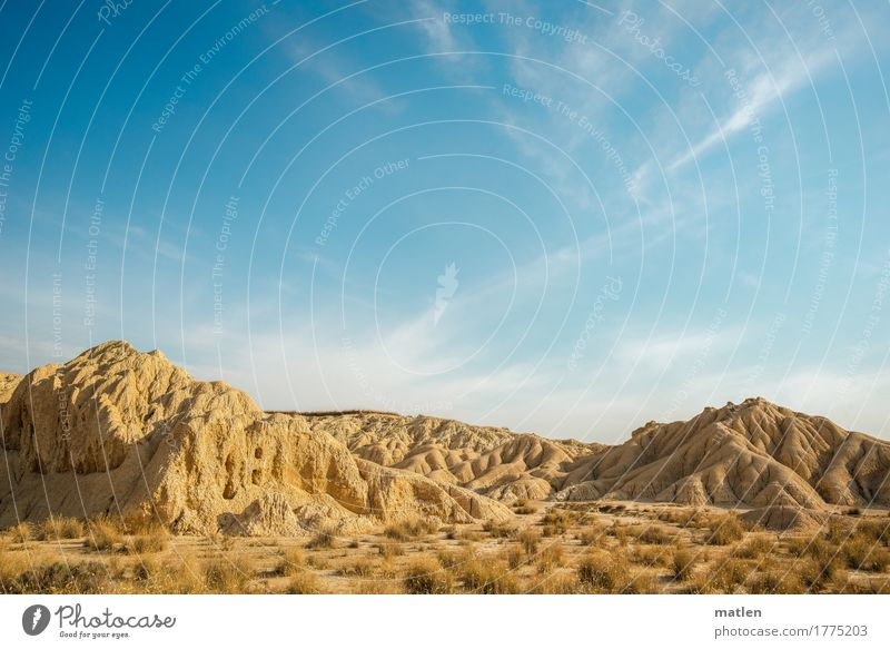 in the desert Environment Nature Landscape Plant Sand Sky Clouds Horizon Sunlight Weather Beautiful weather Grass Hill Rock Desert Deserted Gloomy Blue Brown