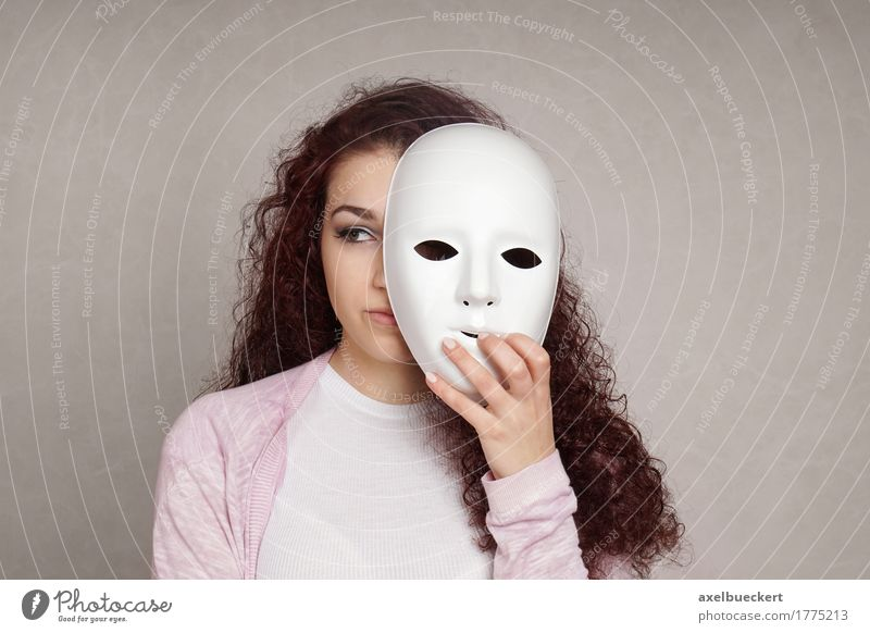sad girl hiding behind mask Human being Woman Youth (Young adults) Young woman 18 - 30 years Face Adults Sadness Emotions Feminine Art Health care Copy Space