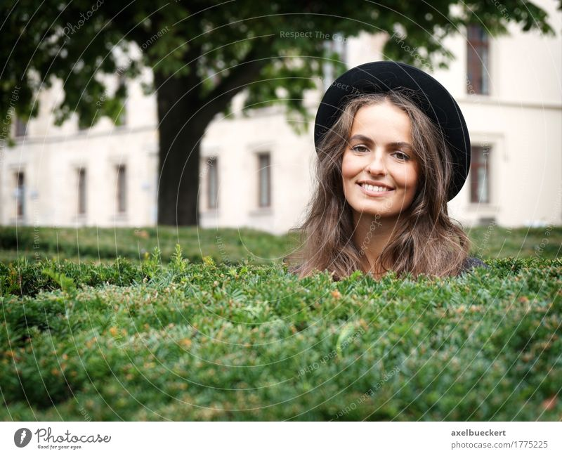 happy young woman in a park Human being Woman Youth (Young adults) Beautiful Young woman Joy 18 - 30 years Adults Lifestyle Feminine Style Laughter Garden Fashion Park Leisure and hobbies