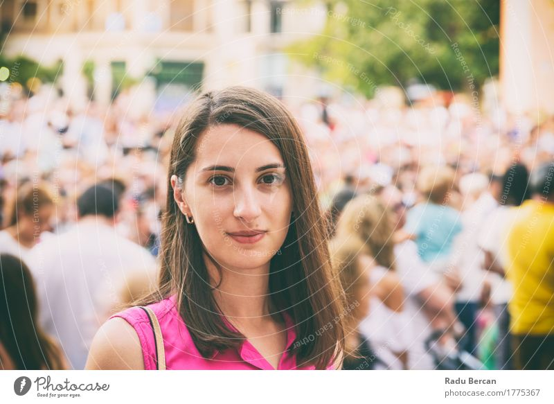 Cute Girl Portrait With Crowd Of People In Background Human being Woman Vacation & Travel Youth (Young adults) City Colour Summer Beautiful Young woman Joy