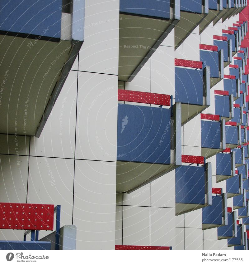 balconies Colour photo Multicoloured Exterior shot Day House (Residential Structure) Manmade structures Architecture Balcony Stone Living or residing Red Blue