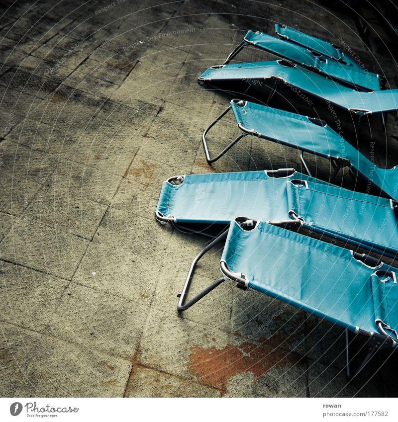 Old Blue Beach Dark Relaxation Dirty Concrete Break Lie Couch Shabby Sunbathing Cozy Terrace Deckchair Rest