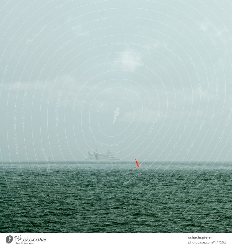 Water Ocean Red Vacation & Travel Colour Gray Sadness Rain Fog Wet Navigation North Sea Ferry Bad weather Patch of colour Buoy