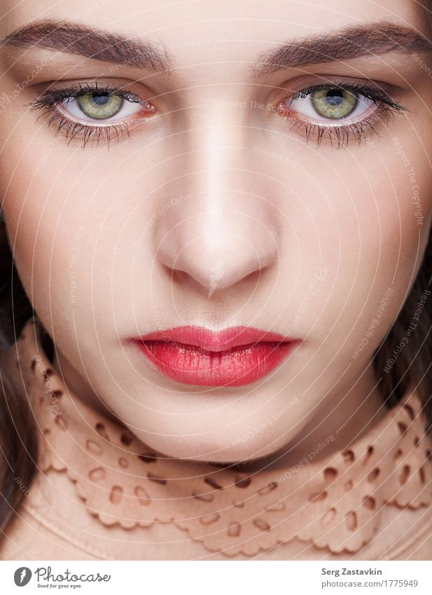 Closeup shot of female face with day makeup Woman Colour Green Beautiful White Girl Face Adults Style Gray Fashion Elegant Skin Mouth Clean Dress