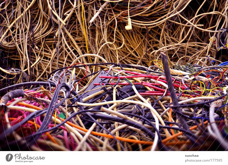 tangled cables Colour photo Multicoloured Detail Blur Plastic Blue Yellow Violet Pink Squander Luxury Destruction Cable Defective Broken Dispose of Environment