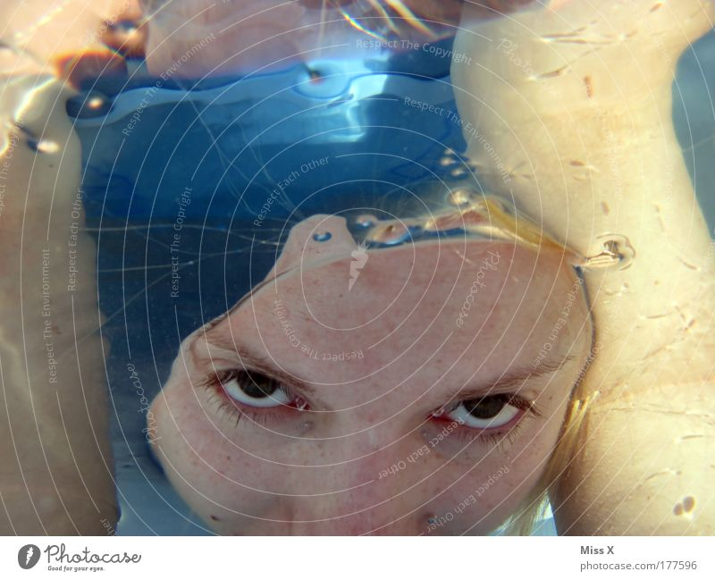 Human being Youth (Young adults) Water Face Eyes Cold Feminine Blonde Adults Drops of water Fresh Swimming pool Dive Swimming & Bathing Fear of death