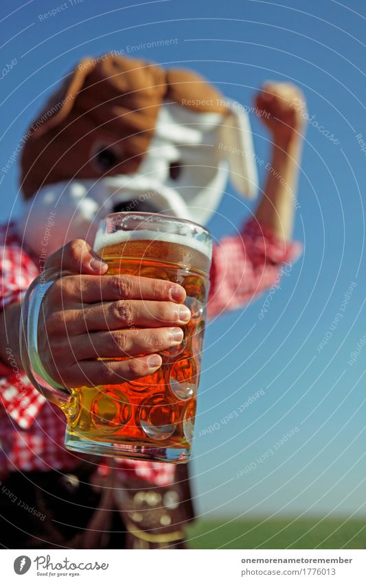 Dog Joy Art Esthetic Beer Munich Tradition Bavaria Costume Work of art Oktoberfest Comical Beer garden Funster Beer mug