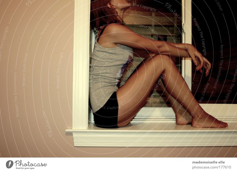 Youth (Young adults) Hand Adults Loneliness Relaxation Feminine Dark Window Wall (building) Hair and hairstyles Sadness Think Wall (barrier) Legs Feet
