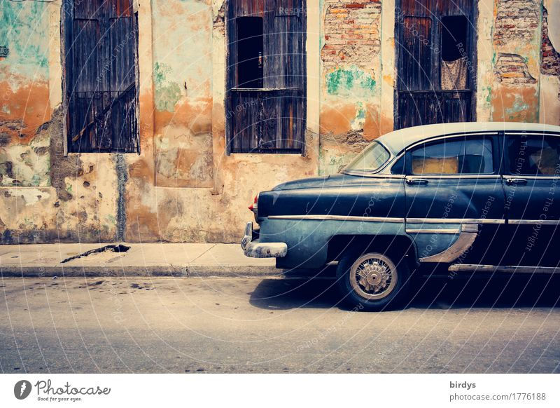 American classic car in Cuba, Cuban street scene Vintage car Vacation & Travel Culture Santiago de Cuba province Town Old town House (Residential Structure)