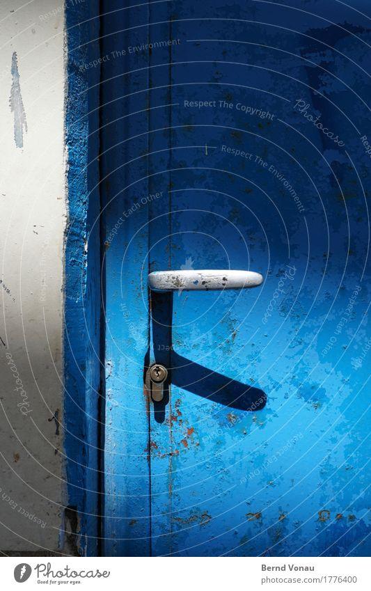 opener Wall (barrier) Wall (building) Door Old Authentic Simple Blue Black Greece Crete Door handle Drop shadow Lock Front door Idyll Rust Weather Varnish