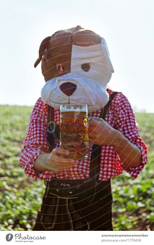 Oktoberfest - got one Art Work of art Esthetic Bavaria Munich Tradition Costume Shirt Checkered Pattern Beer Beer garden Beer glass Beer mug Froth To hold on