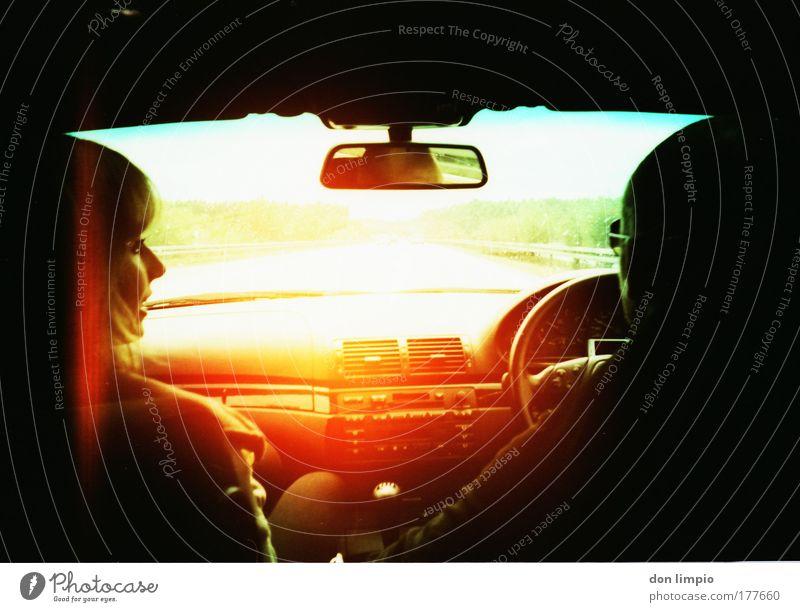 Human being Black Head Lomography Car Orange Illuminate Driving Mirror Motor vehicle Vehicle Motoring In transit Means of transport Machinery Windscreen