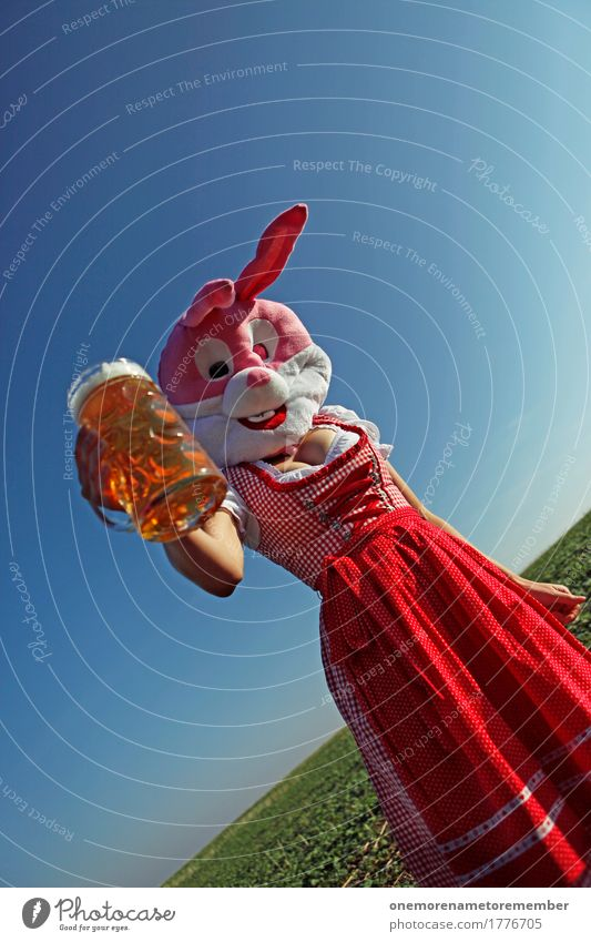Oktoberfest - To you! Art Work of art Esthetic Hare & Rabbit & Bunny Buck teeth Hare ears Traditional costume Bavaria Costume Beer Toast Beer garden Beer glass
