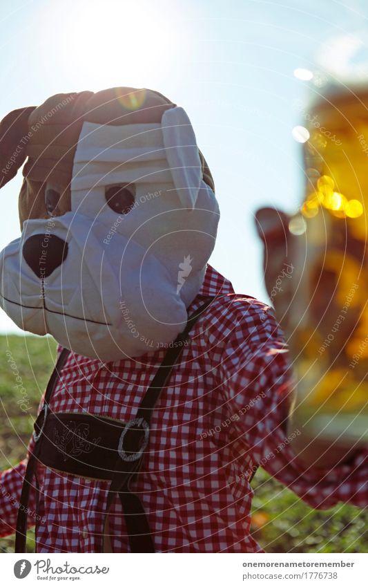 Dog Man Summer Art Esthetic Symbols and metaphors Beer Munich Tradition Bavaria Oktoberfest Costume Beer garden Beer mug Toast Party mood