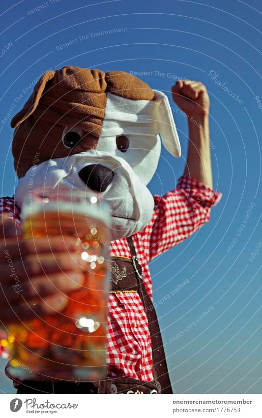 Dog Man Food Masculine Esthetic Beverage Beer Tradition Fairs & Carnivals Bavaria Checkered Costume Oktoberfest Beer garden Beer mug