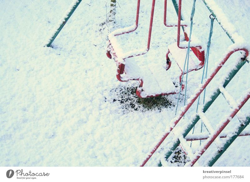 Nature White Winter Cold Snow Weather Swing Playground Partially visible Section of image Snow layer