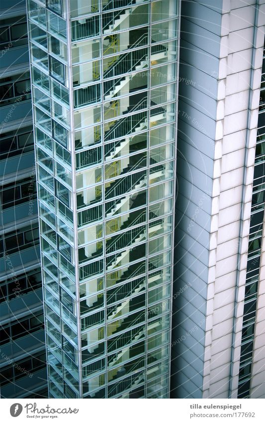 Green Blue Loneliness Colour Cold Berlin Wall (building) Window Wall (barrier) Building Architecture Glass High-rise Facade Empty Stairs