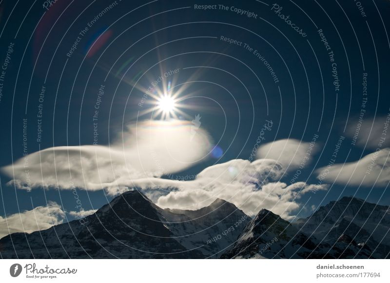 Bernese Oberland Copy Space left Copy Space right Copy Space top Day Sunlight Sunbeam Back-light Panorama (View) Nature Landscape Sky Clouds Climate