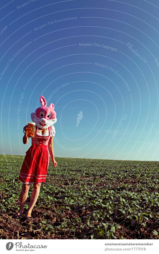 Oktoberfest - Beer Rabbit Art Esthetic Beer garden Beer glass Froth Beer mug Costume Traditional costume Red Dress Pink Hare & Rabbit & Bunny Landscape Walking