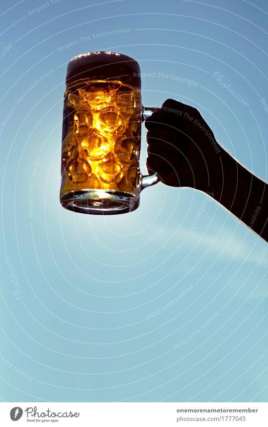 Oktoberfest - Golden Drink Beverage Esthetic Beer Beer garden Ale bench Beer glass Froth Beer mug Blue sky Summer Lift To hold on Colour photo Multicoloured
