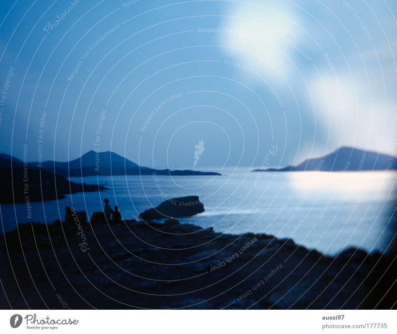 The Ocean Coast Beach Blue Twilight 2 persons Cliff Rock