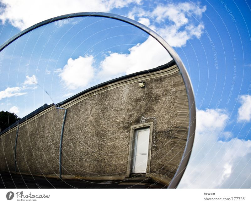 reflection Colour photo Exterior shot Copy Space right Day Industrial plant Factory Manmade structures Building Architecture Wall (barrier) Wall (building) Door
