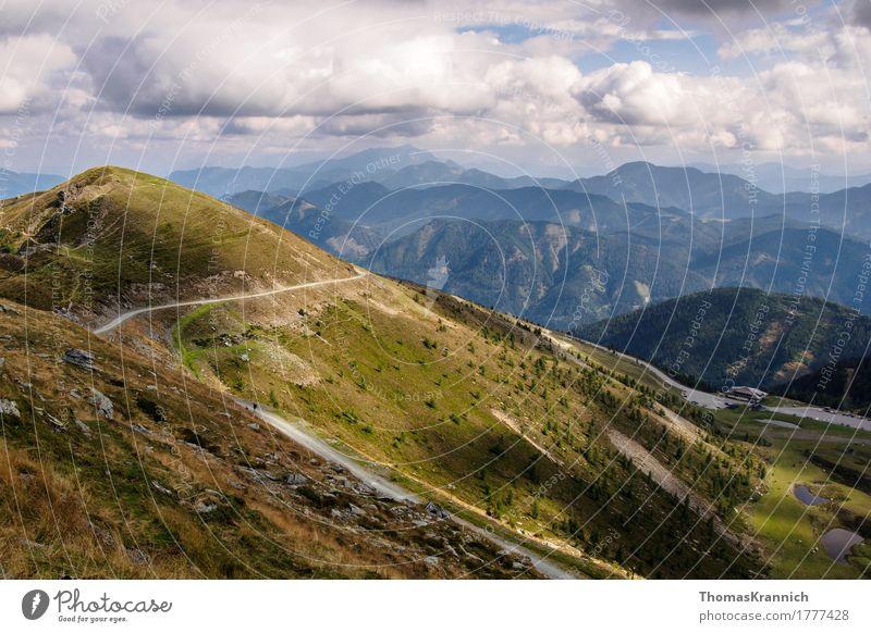 alpine landscape Landscape Alps Mountain Blue Green Tourism Austria carinthia gold corner Kogel Alpine Diagonal gloud road sky Federal State of Kärnten