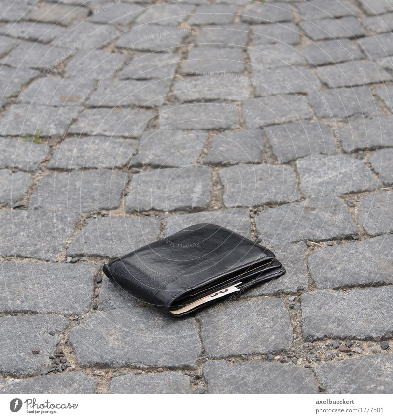 lost your wallet Street Money Lose Bank note Financial Industry Money purse Black Leather Cobblestones Sidewalk Doomed Find Happy Adversity Ground Euro