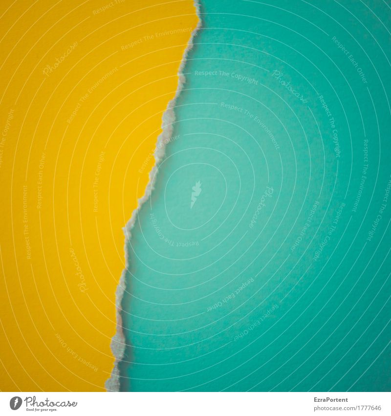 G~T Elegant Style Design Decoration Paper Line Stripe Bright Blue Yellow Turquoise Colour Advertising Divide Dividing line Crack & Rip & Tear Broken Torn Graph