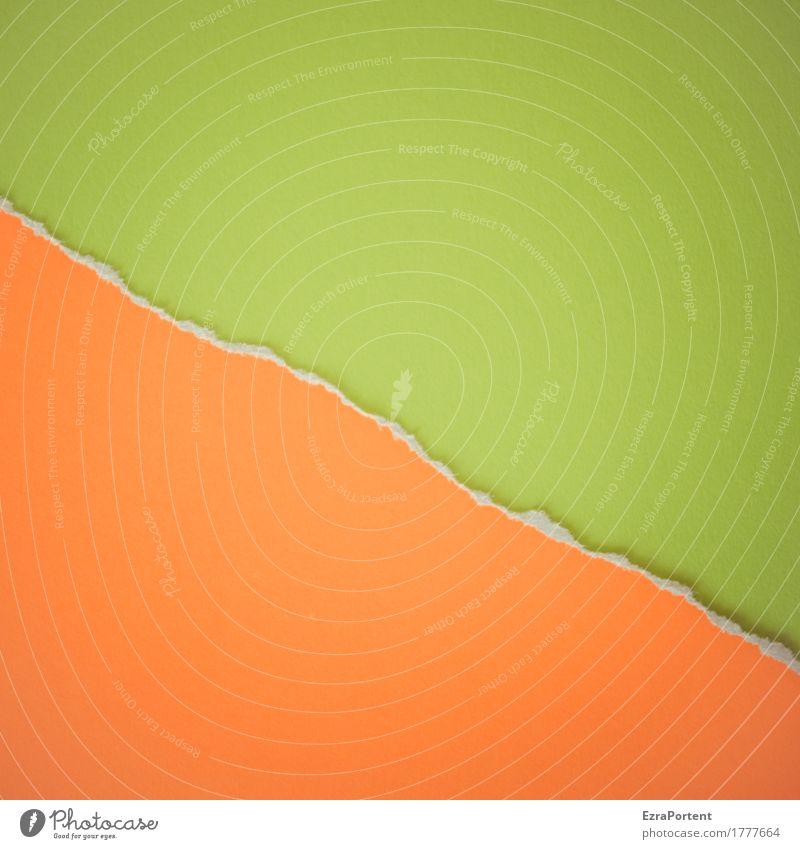 O~G Style Design Decoration Paper Signs and labeling Line Esthetic Green Orange Colour Divide Advertising Diagonal Crack & Rip & Tear Broken Division Half