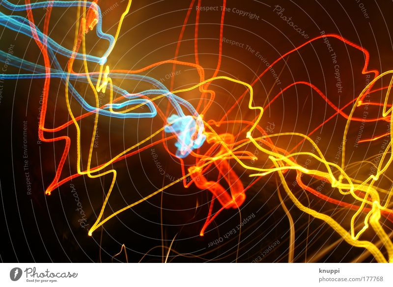 Blue Red Yellow Lamp Illuminate Visual spectacle Beam of light Abstract Light Tracer path Strip of light Illuminating Luminosity Bright Colours Light art