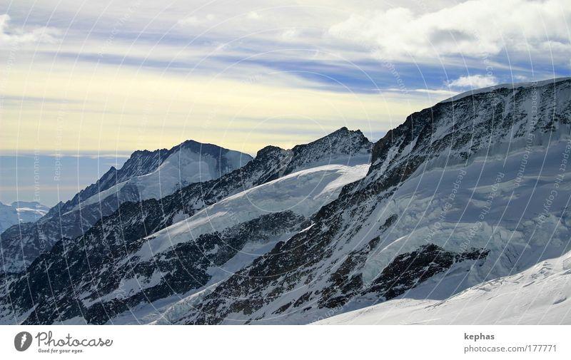 3471m üNN Colour photo Exterior shot Deserted Copy Space top Day Landscape Sky Winter Beautiful weather Ice Frost Snow Rock Alps Mountain virgin yoke Peak