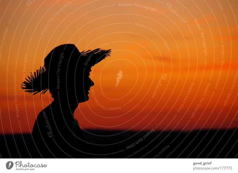 Human being Sky Man Nature Youth (Young adults) Joy Clouds Landscape Emotions Head Moody Adults Nose Masculine Hat Dusk