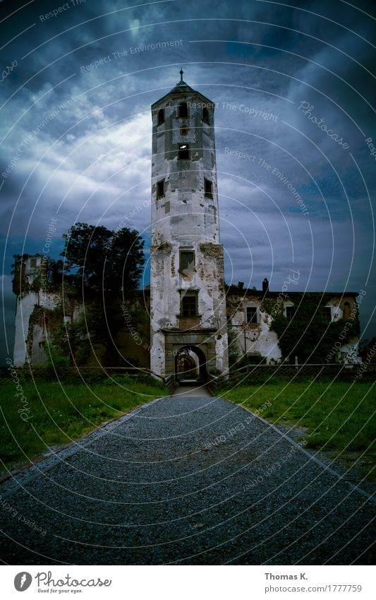 Hohenegg Castle Ruin Tower Gate Wall (barrier) Wall (building) Destruction Clouds Thunder and lightning Storm Lanes & trails Decline Colour photo Exterior shot