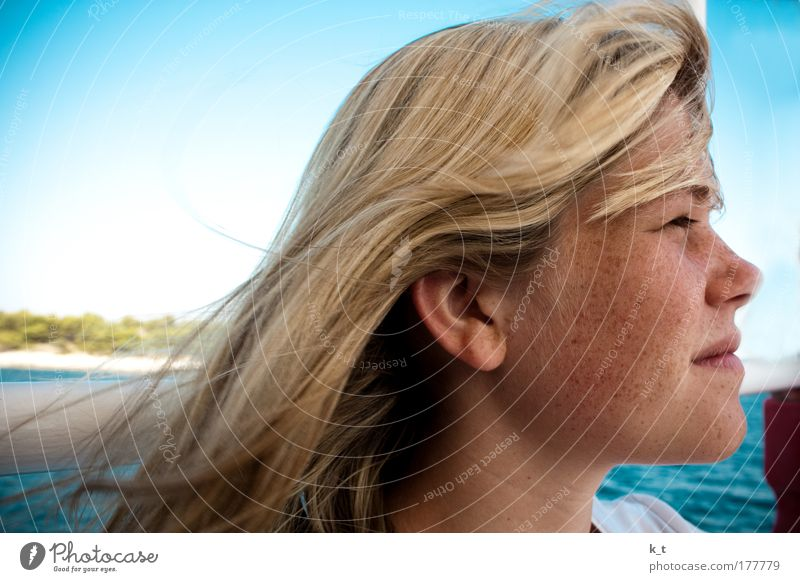 With the wind in your hair Trip Freedom Summer Summer vacation Ocean Feminine Young woman Youth (Young adults) Head Hair and hairstyles Face 1 Human being