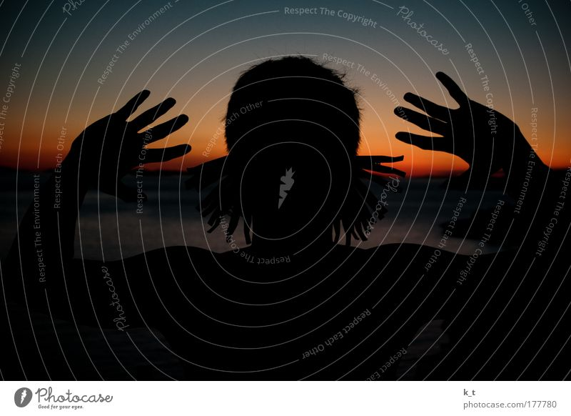 earlobe Colour photo Exterior shot Twilight Silhouette Sunrise Sunset Back-light Masculine Young man Youth (Young adults) Head Ear Hand 18 - 30 years Adults