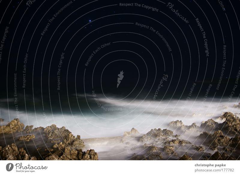 Water Sky Ocean Dark Stone Moody Waves Coast Stars Rock Threat Night sky Exceptional Bay Lakeside Whimsical