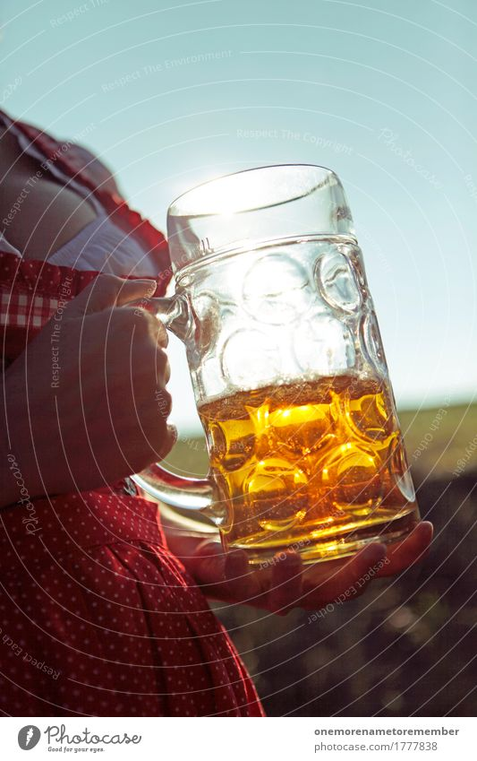 Oktoberfest - Beer with a view Art Work of art Esthetic Beer garden Beer glass Froth Beer mug Beer belly Munich Bavaria Germany Gold Traditional costume Woman