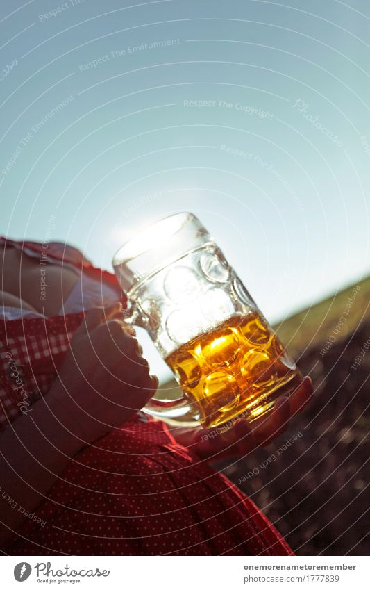 Oktoberfest - Beer Belly Art Esthetic Beer garden Beer glass Froth Beer mug Beer belly Chest Woman Breasts Half full Red Dress Sunbeam Summer Exterior shot
