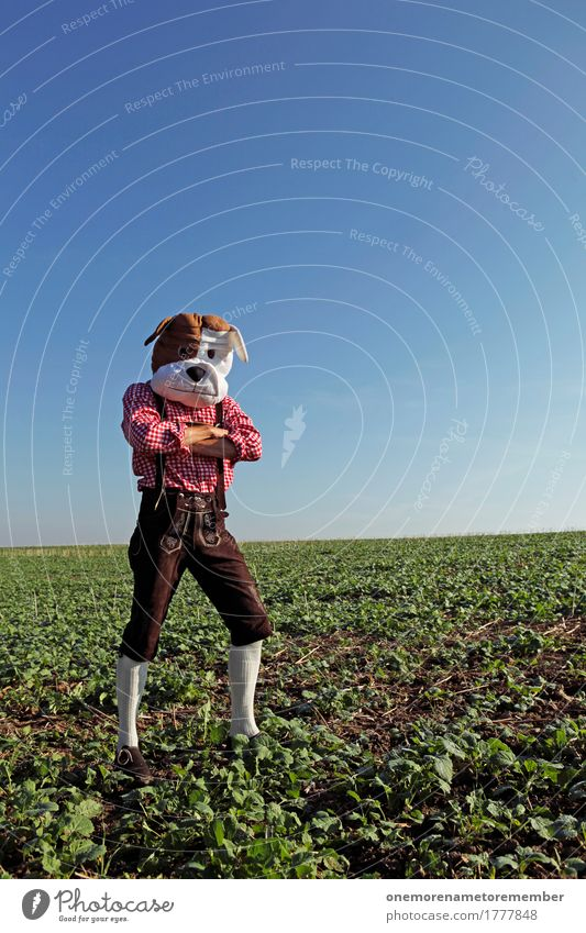 Oktoberfest - wait Art Work of art Esthetic Bavaria Costume Tradition Field Interlocked Lederhosen Man Dog Joy Comical Funster The fun-loving society Checkered
