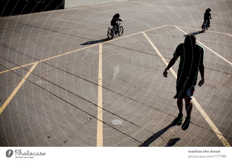 MONDAY IN THE MAUERPARK Colour photo Subdued colour Exterior shot Morning Day Light Shadow Contrast Silhouette Full-length Playing Summer Sun Cycling Hacky Sack