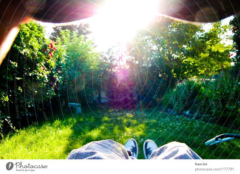 Human being Nature Beautiful Green Blue Relaxation Meadow Emotions Grass Garden Dream Feet Park Friendship Footwear