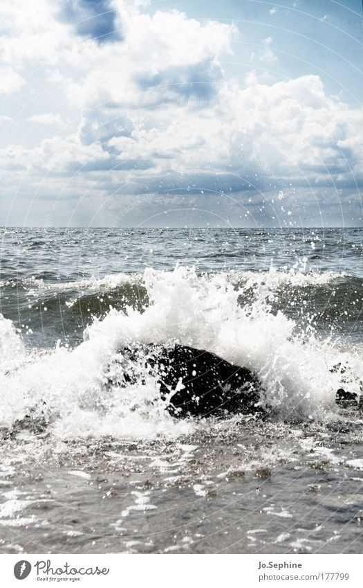 Only constant is your impermanence Ocean Surf White crest Waves Swell Force of nature Elements Baltic Sea Landscape Wind Beautiful weather Sky Clouds Summer