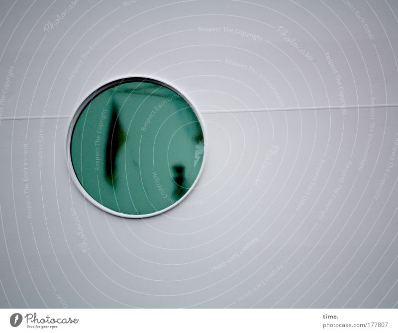 [KI09.1] - In-flight program tankers Watercraft Porthole Window Round exterior wall Reflection Flag Linen Green Welding seam Navigation