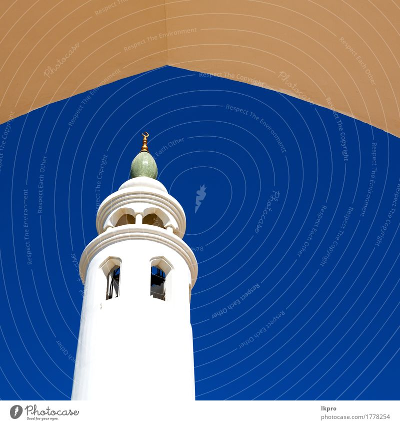 minaret and religion in clear sky Sky Vacation & Travel Old Blue Beautiful White Black Architecture Religion and faith Building Art Gray Tourism Design Church