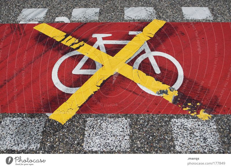 End of terrain Colour photo Exterior shot Downward Transport Means of transport Traffic infrastructure Passenger traffic Street Cycle path Bicycle Sign