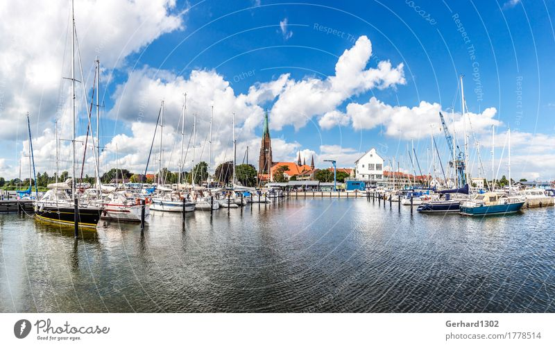Panorama of the marina and the cathedral in Schleswig Sailing Water Fjord Baltic Sea Town Port City Church Dome Harbour Landmark Navigation Boating trip