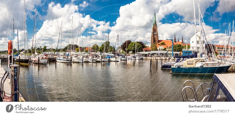 Panorama of the marina of Schleswig with the cathedral of Schleswig Sailing Bicycle Nature Water Beautiful weather Coast Baltic Sea Town Port City Landmark