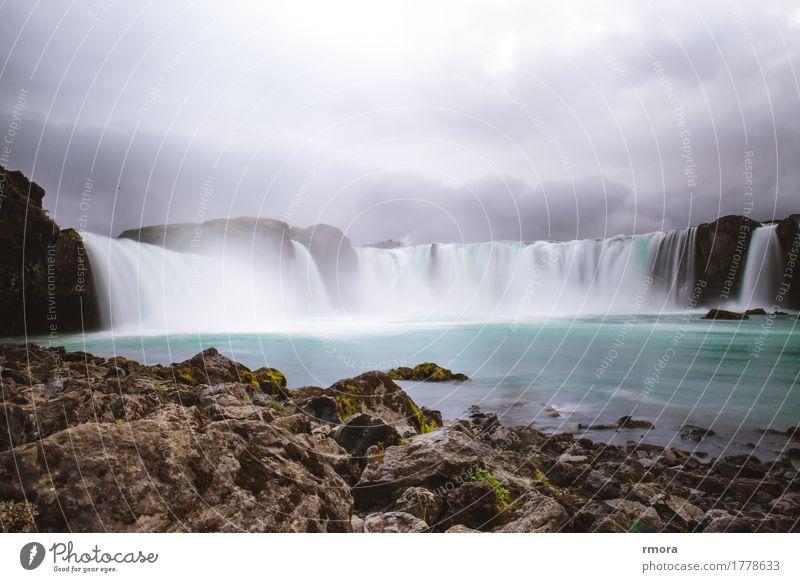 Góðafoss Waterfall Godafoss Iceland Bárðardalur Sprengisandur Ring Road Highland cattle Niagara Falls (USA) Island Moss Rock River Earth Turquoise