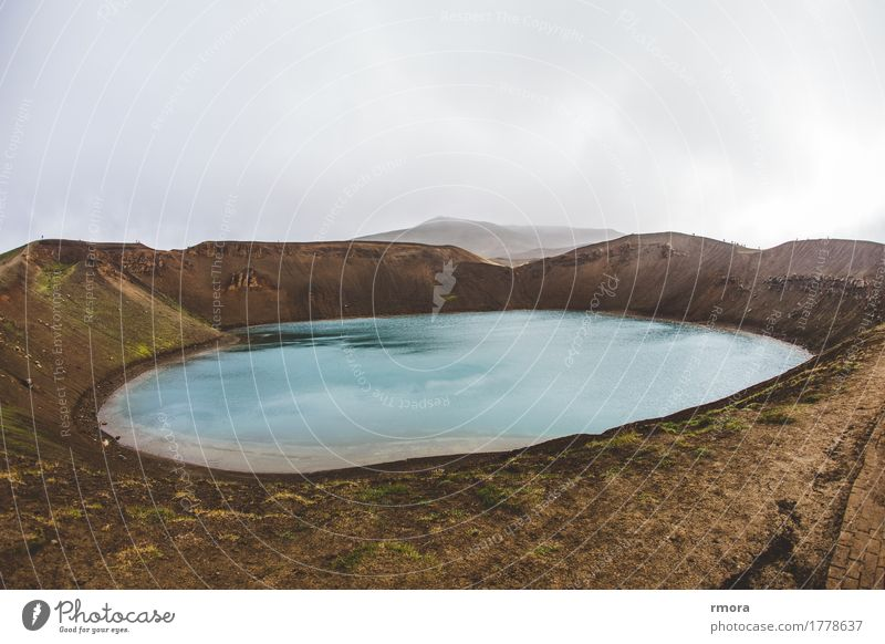 Krafla Environment Nature Earth Water Volcano Iceland Pond Mývatn Outskirts Exotic Fantastic Naked Brown Turquoise Colour photo Exterior shot Morning Wide angle